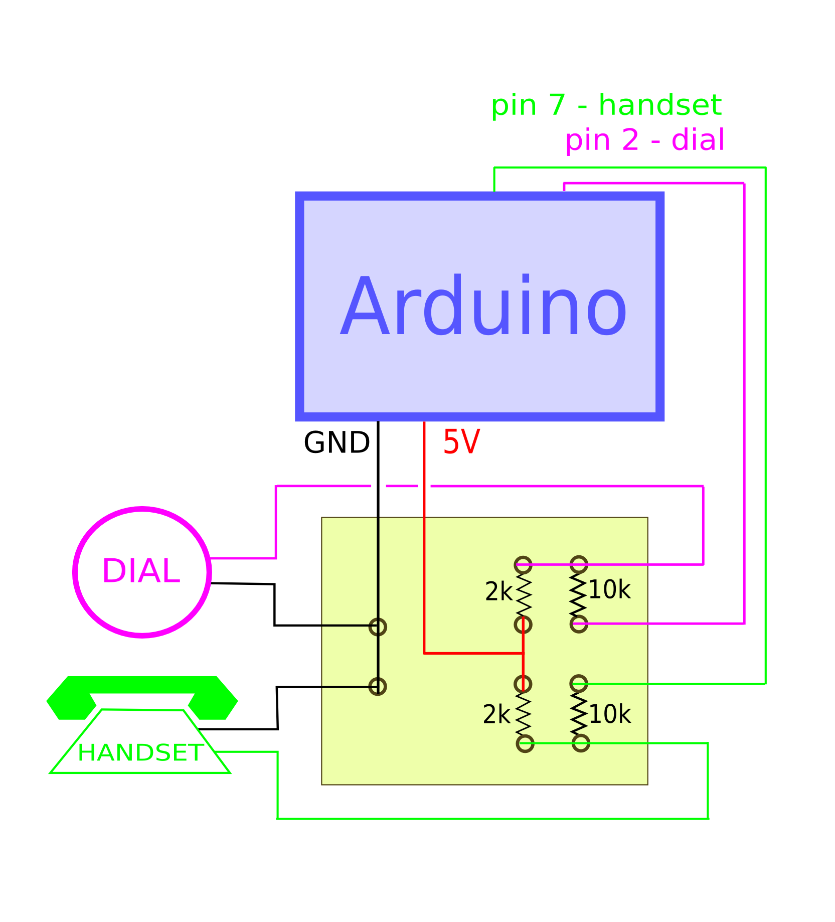 Rotary Dial Phone To Arduino Open Lab Egypt Line Wire Diagram The Idea Behind This Circuit Is Connect Input Wires Lets Say Of Handset 5 Volts Pin If Two Are Not Touching Current Flows